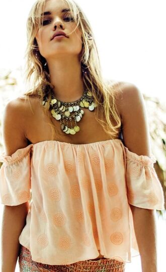 top off the shoulder off the shoulder top peasant top coin necklace peach