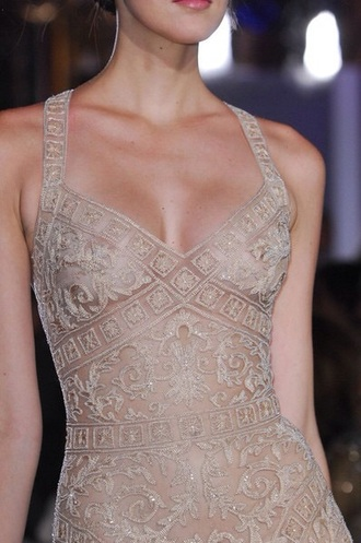 beige vintage top nude dress embroidered classy