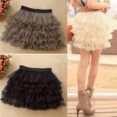 skirt,cute,black,white,cream,layered,short