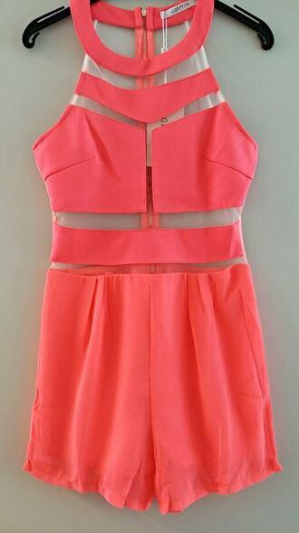 jumpsuit mesh mesh jumpsuit shorts pink white black backless romper coral