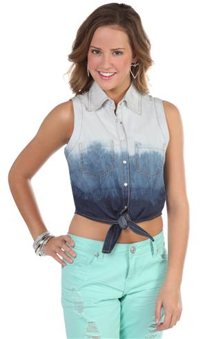 Dip dye button up denim vest
