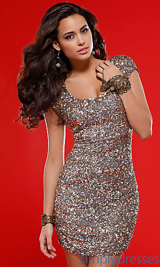 Cap Sleeve Short Sequin Cocktail Dress by Scala - Simply Dresses