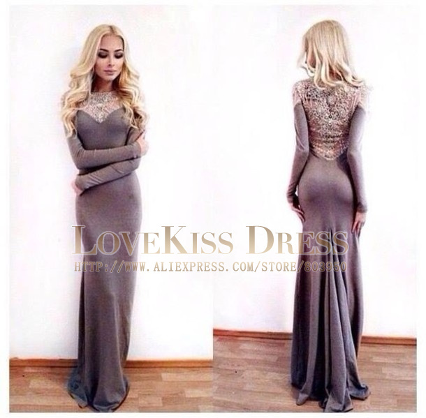 Aliexpress.com : Buy Vestidos De Fiesta Sexy Sheer Scoop Neck Long Sleeve With Crystal Beaded Gray Mermaid Long Prom Dress DYQ905 from Reliable sleeve scrunch suppliers on Love Kiss Evening Dress and Wedding Dress Manufactory