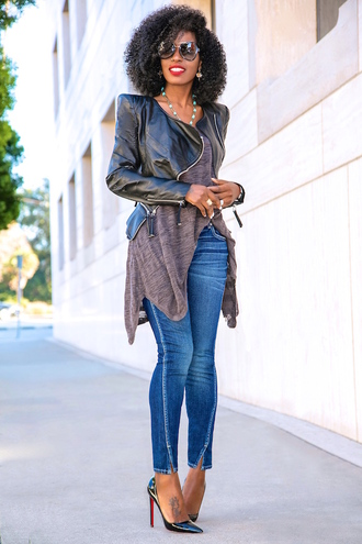 blogger jacket t-shirt jeans shoes pumps leather jacket fall outfits