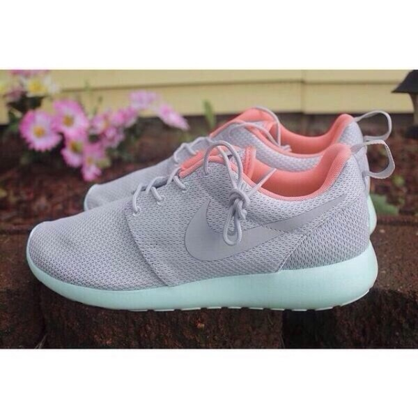 shoes nike running shoes nike nike roshe run wolf grey grey roshes teal mint roshe runs peach grey light blue grey sneakers low top sneakers