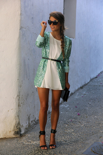 jacket dress shoes bag sunglasses blue sequins sequin sweater black heels ankle strap black heels high heels sandals cute dress summer outfits sparkly dress white dress white vintage girly sweater green glitter