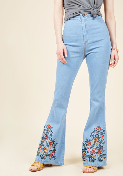 BBSS170202B jeans back embroidered high light floral blue