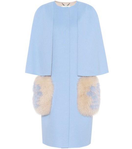 coat wool coat fur wool blue