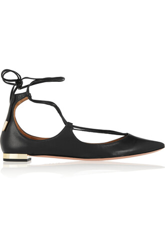 flats leather black shoes