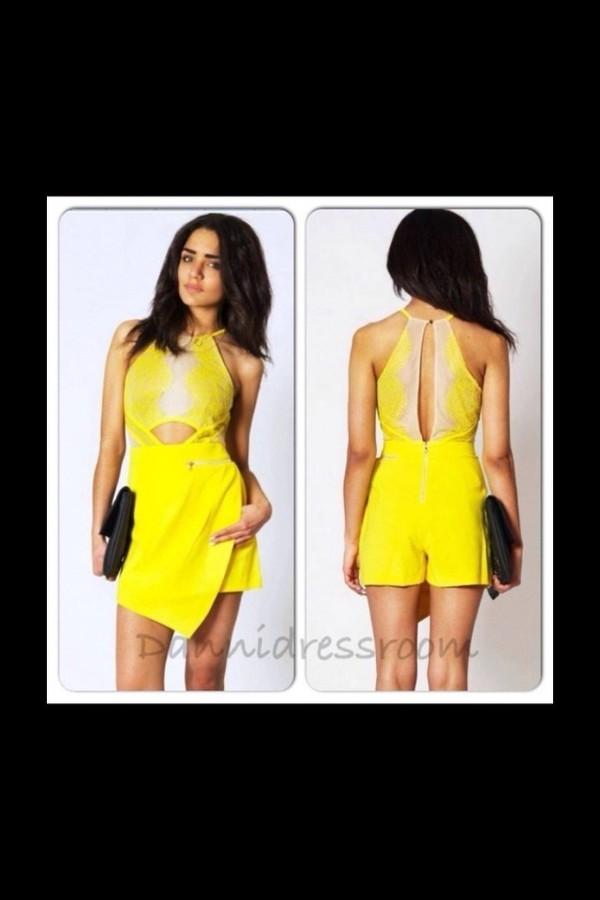 dress romper yellow