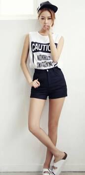 shirt,cute,korean fashion,asian,korean style,shorts,white tank top