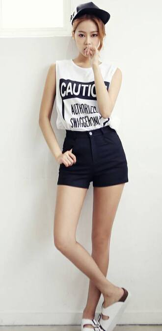 shirt cute korean fashion asian korean style shorts white tank top