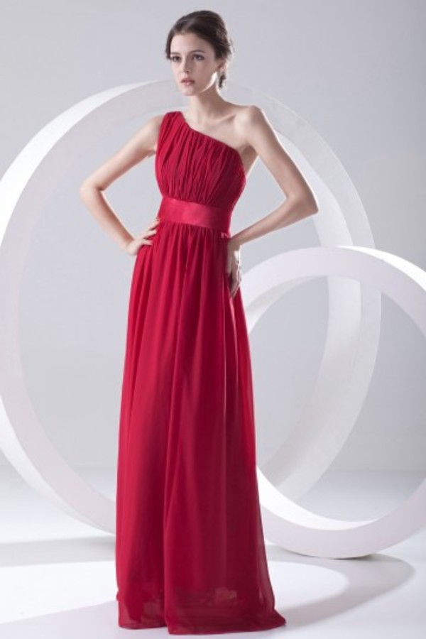 a line dress evening dress one shoulder chiffon dress