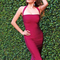 Halter mermaid midi bandage dress burgundy
