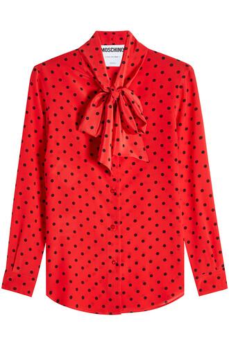 blouse silk polka dots top