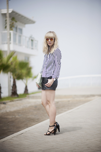 just another me shorts blouse shoes sunglasses