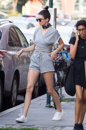 shorts,grey,sneakers,summer,sunglasses,model off-duty,jewels,keeping up with the kardashians,model,celebrity style,celebrity,bandana,bandana print,choker necklace,kendall jenner