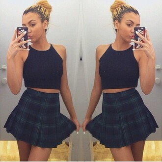 skirt plaid skirt plaid cute style aa american apparel curly hair bun messy bun black shirt crop tops crop