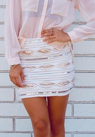 skirt white pink shirt see through bling chic