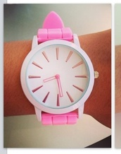 jewels,watch,pink,rubber watch,white
