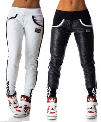 joggers leather joggers streetwear winter outfits winter leggings winter pants sweatpants sportswear black and white adidas style trendy pants warm black skinny pants black pants white joggers