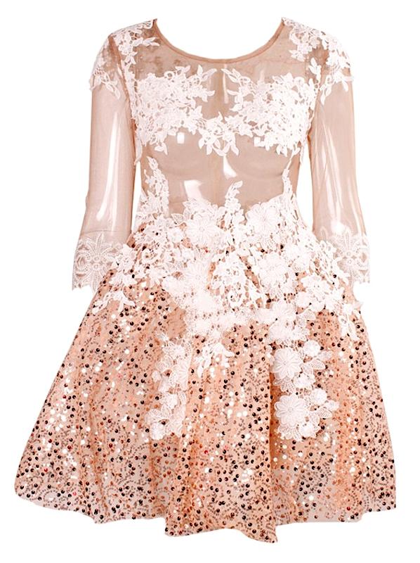 Katherine sequin mesh open back ball gown nye dress
