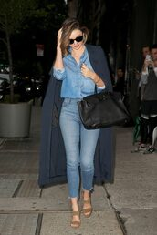 coat,denim,denim jacket,denim shirt,sandals,miranda kerr,sunglasses,purse,spring outfits,jeans,shoes,All denim outfit,All blue outfit,blue long coat,monochrome outfit