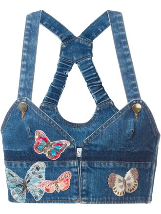 top denim top denim embroidered butterfly blue