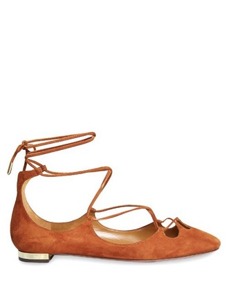 flats suede tan shoes