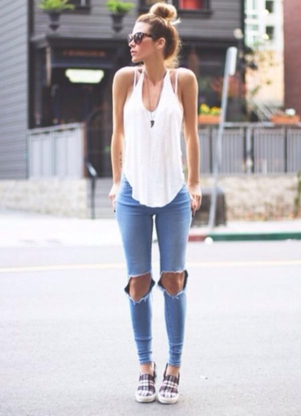 jeans shoes shirt