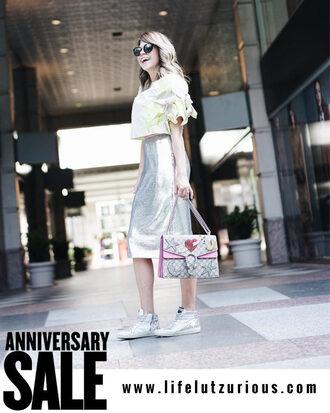 lifelutzurious blogger top skirt shoes bag silver sneakers silver skirt midi skirt sparkly skirt sequin skirt gucci bag