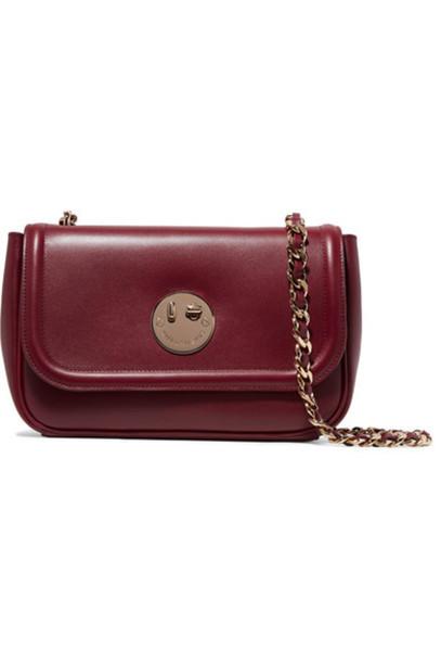 Hill & Friends - Happy Chain Leather Shoulder Bag - Burgundy