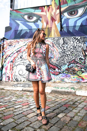 dress,tumblr,mini dress,print,printed dress,sleeveless,sleeveless dress,shoes,ballet flats,flats,miu miu,bag