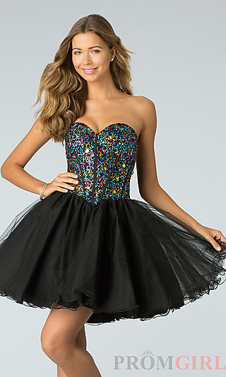 Short Strapless Lace Up Prom Dress, Babydoll Party Dress-PromGirl