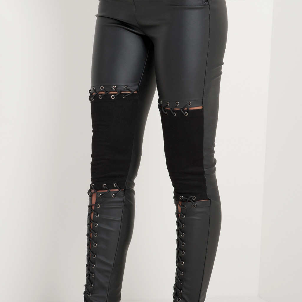 and Suede Lace-Up Legging - Black