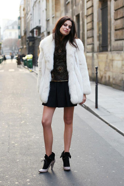 coat white fur coat white coat fur coat skirt black skirt pleated skirt top boots high heels boots fall outfits streetstyle