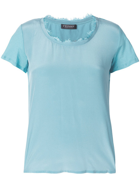 Twin-Set t-shirt shirt t-shirt women cotton blue silk top