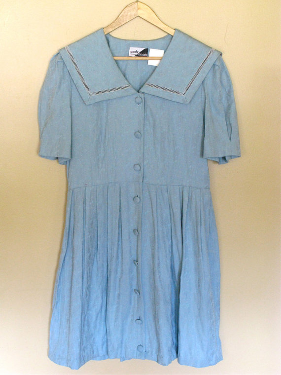 Vintage light aqua blue sailor style baby doll by tobedetermined