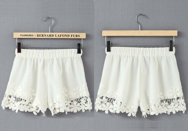 shorts hem lace lace shorts skirt bottoms fashion clothes