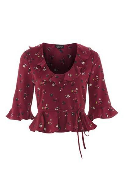 Topshop blouse print burgundy top