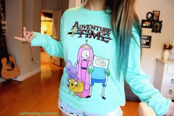 sweater blue sweater shirt aqua sweater finn the human jake the dog lumpy space princess adventure time adventure time sweater leopard print