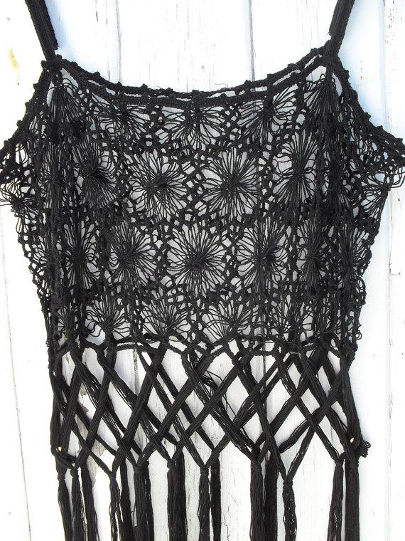vintage 70's hipster boho crochet tassel fringe by alltimeometime