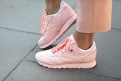 shoes,pink,sneakers,pastel,Reebok,pastel sneakers,pink shoes,urban pastel pink,athleisure,baby pink,pastel pink,trainers,classics,sporty,women trainers