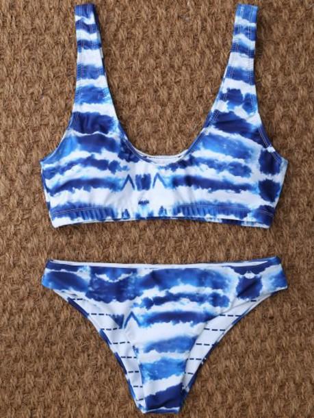 Zaful Tie Dye U Neck Bikini in blue / white