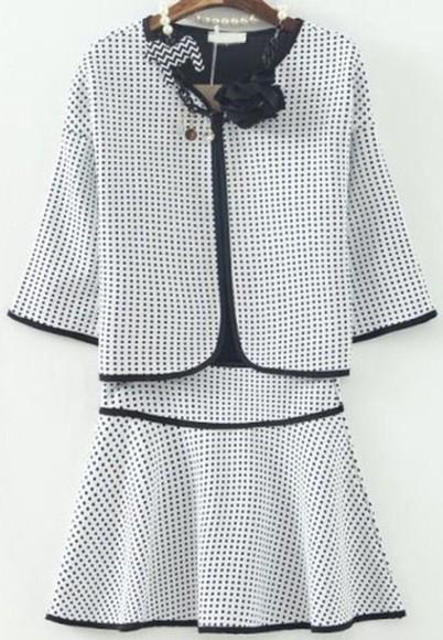 white dress white girly blouse top skirt style fashion polka dots elegant black black skirt summer dress summer outfits glee