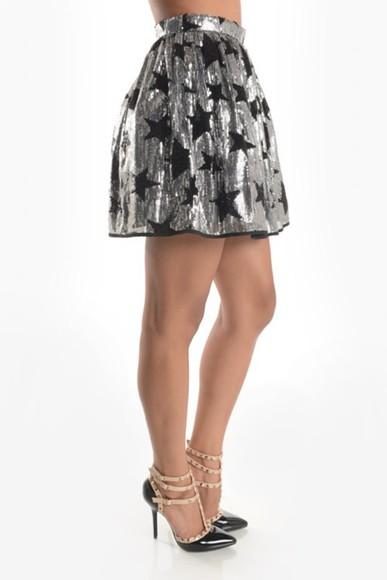 silver skirt