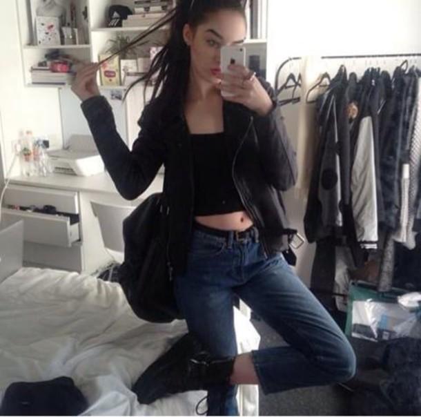 jacket black leather sexy