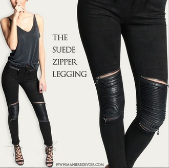 pants suede leather rib ribbed zips zip suedette zipped pants