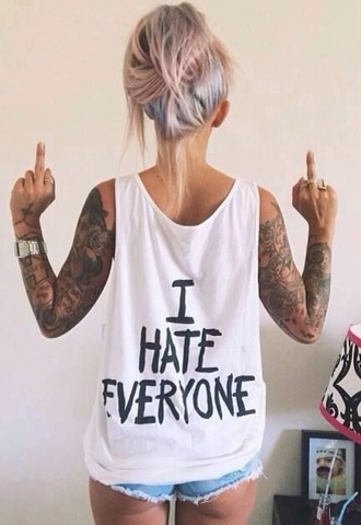 shirt i hate everyone white singlet muscle shirt singlet