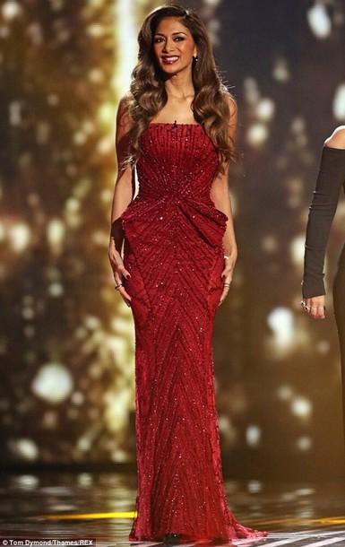 dress nicole scherzinger red dress sparkly dress x factor red lipstick